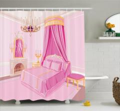 Prenses Odası Temalı Duş Perdesi Pembe Çocuk İçin