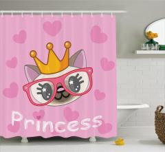 Prenses Kedi Temalı Duş Perdesi Pembe Çocuklar İçin