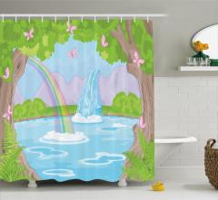 Çocuklar İçin Rengarenk Duş Perdesi Peri Masalı