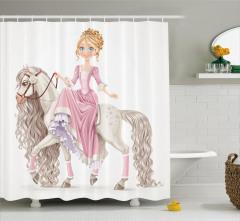 Prenses ve At Desenli Duş Perdesi Çocuk İçin Beyaz