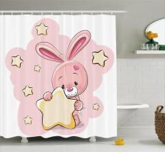 Tavşan ve Yıldız Temalı Duş Perdesi Pembe Çocuk İçin