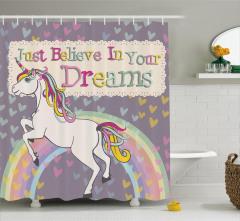 Masal Temalı Duş Perdesi Rengarenk Unicorn Çocuk