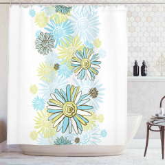 Sarı ve Mavi Çiçek Desenli Duş Perdesi Çeyizlik