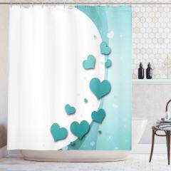 Turkuaz Kalp Desenli Duş Perdesi Romantik Çeyizlik