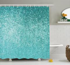 Mavi Mozaik Desenli Duş Perdesi Şık Tasarım Çeyizlik