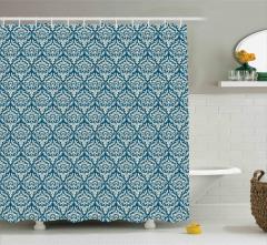 Mavi Çiçek Desenli Duş Perdesi Şık Tasarım Trend