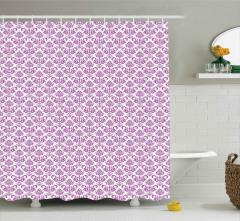 Mor Çiçekli Duvar Kâğıdı Desenli Duş Perdesi Trend