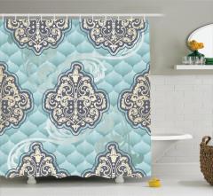 Rokoko Duvar Kâğıdı Desenli Duş Perdesi Mavi Fonlu