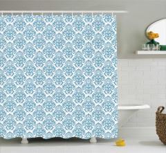 Mavi Çiçekli Duvar Kâğıdı Desenli Duş Perdesi Trend