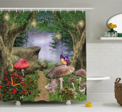 Büyülü Orman Temalı Duş Perdesi Kelebek Mantar