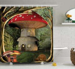 Kırmızı Şapkalı Mantar Ev Desenli Duş Perdesi