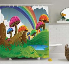 Rengarenk Mantar Desenli Duş Perdesi Gökkuşağı