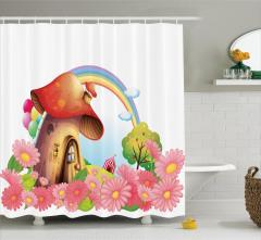 Mantar Ev ve Gökkuşağı Desenli Duş Perdesi Çiçekli