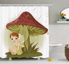 Yağmurda Mantara Sığınan Peri Desenli Duş Perdesi
