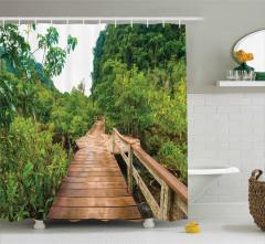Doğada Yolculuk Temalı Duş Perdesi Yeşil Orman