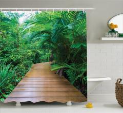 Ahşap Orman Yolu ve Palmiye Temalı Duş Perdesi