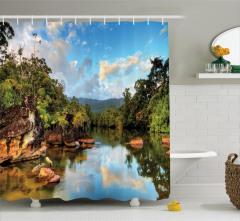 Tropikal Orman ve Nehir Temalı Duş Perdesi Bulut