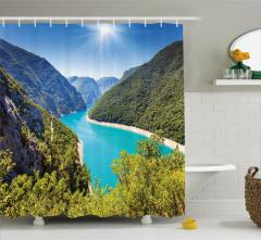 Kanyon ve Nehir Manzaralı Duş Perdesi Doğa Temalı