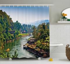 Tayland ve Nehir Manzaralı Duş Perdesi Tropik