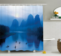 Nehirde Gün Doğumu Manzaralı Duş Perdesi Mavi Huzur