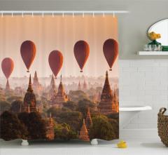 Tapınak ve Balon Temalı Duş Perdesi Gökyüzü Turuncu