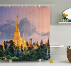 Altın Tapınak ve Orman Temalı Duş Perdesi Bulutlar