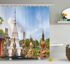 Buda Heykelleri ve Tapınak Temalı Duş Perdesi Şık