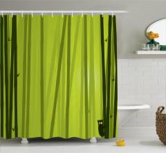 Bambu Desenli Duş Perdesi Kedili Çizgili Yeşil