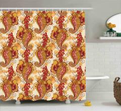Pembe Turuncu ve Sarı Çiçek Desenli Duş Perdesi Şık