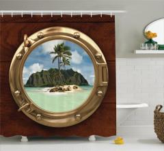 Issız Ada Temalı Duş Perdesi Gemi Deniz Palmiye