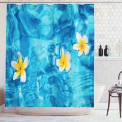 Sudaki Çiçek Temalı Duş Perdesi Doğada Huzur Mavi