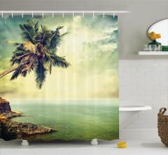 Ada ve Palmiye Manzaralı Duş Perdesi Nostaljik Deniz