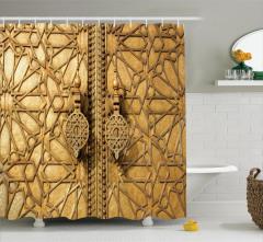 Altın Kapı Manzaralı Duş Perdesi Antik Arap Etnik
