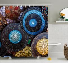 Rengarenk Seramik Desenli Duş Perdesi Etnik Afrika