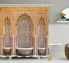 Antik Çeşme Desenli Duş Perdesi Arap Seramik Fas