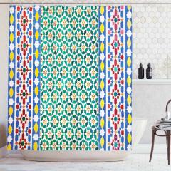 Rengarenk Mozaik Desenli Duş Perdesi Etnik Trend