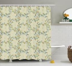 Mavi Yeşil Çiçek Desenli Duş Perdesi Şık Tasarım