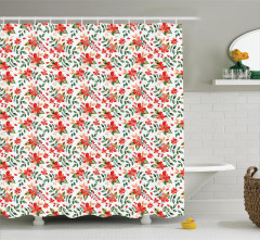 Kırmızı Çiçek Desenli Duş Perdesi Yaprak Şık Tasarım