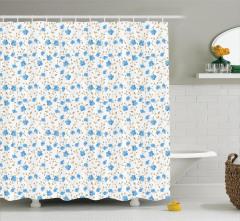 Mavi Çiçekli Duş Perdesi Bahar Temalı Çeyizlik Şık
