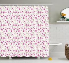 Pembe Çiçekli Duş Perdesi Romantik Çeyizlik Trend