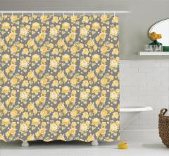 Sarı Çiçek Desenli Duş Perdesi Çeyizlik Romantik