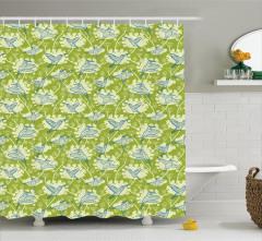 Ağaç ve Kuş Desenli Duş Perdesi Yeşil Mavi Trend