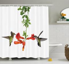 Kırmızı Çiçek ve Kuş Desenli Duş Perdesi Çeyizlik