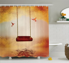 Göl ve Salıncak Desenli Duş Perdesi Kuş Romantik Şık