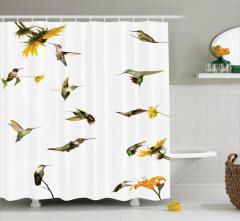 Kuş ve Çiçek Desenli Duş Perdesi Yeşil Sarı Çeyizlik