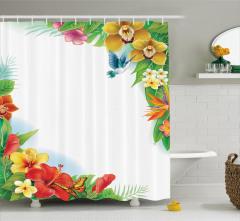 Rengarenk Çiçek ve Kuş Desenli Duş Perdesi Bahar Şık