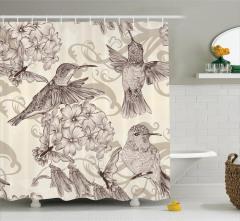 Çiçek ve Kuş Desenli Duş Perdesi Nostaljik Çeyizlik