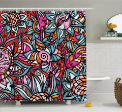 Rengarenk Çiçek Desenli Duş Perdesi Şık Tasarım