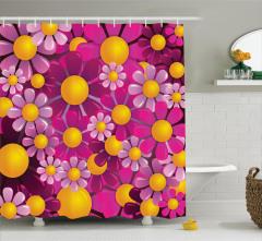 Pembe ve Sarı Çiçek Desenli Duş Perdesi Çeyizlik