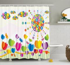 Rengarenk Laleler Desenli Duş Perdesi Şık Tasarım